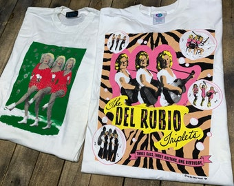 L * deadstock vtg 90s Del Rubio Triplets t shirt lot * pee wee herman the cramps movie tour