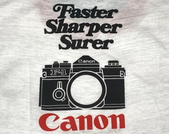 M * nos vtg 70s Canon F-1 promo t shirt * camera photography film * 71.166