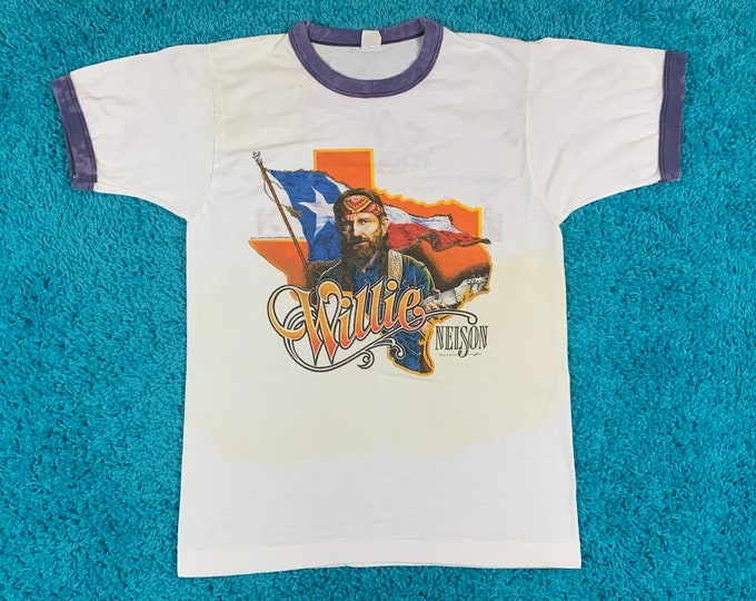 S * vtg 80s 1984 Willie Nelson tour t shirt * classic country music outlaw * 51.145