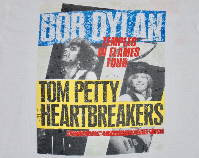 L * thin vtg 80s 1987 Bob Dylan / Tom Petty european tour t shirt * 28.172