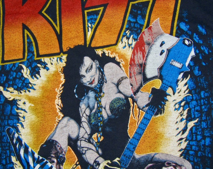 S * vtg 80s 1984 KISS tour t shirt * 37.136 concert