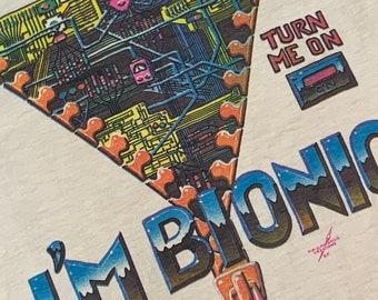 M * nos vtg 70s 1977 Alton Kelley BIONIC art t shirt * stanley mouse family dog