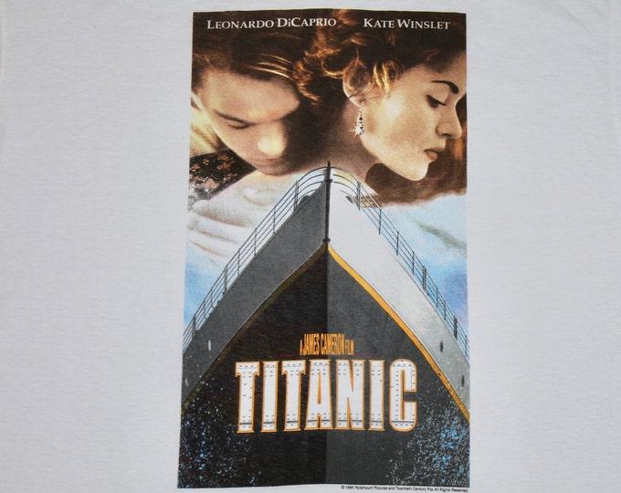 XL * NOS vtg 90s 1998 TITANIC movie t shirt * leonardo dicaprio promo * 94.59