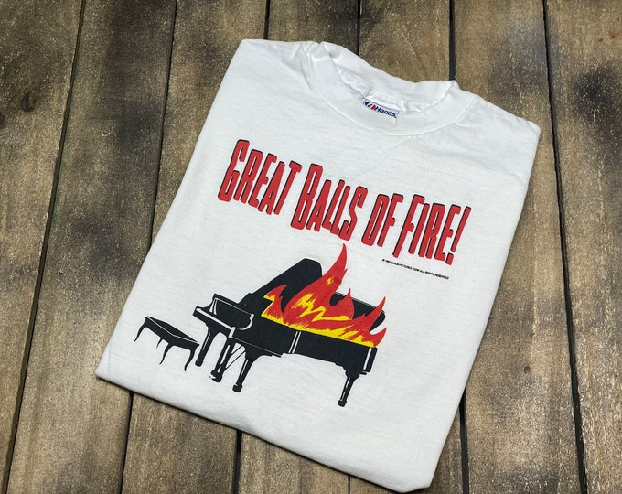 M * vtg 80s 1989 Jerry Lee Lewis movie Great Balls Of Fire t shirt * 101.63