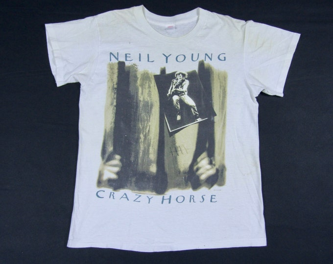 S/M * thin vtg 80s 1987 Neil Young & Crazy Horse tour t shirt * small medium * 86.87