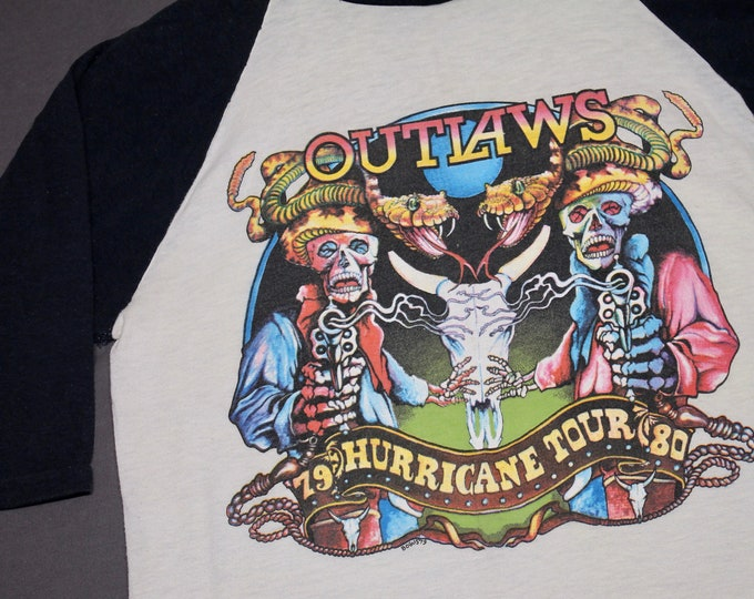 S * vtg 70s 1979 1980 The Outlaws concert tour raglan t shirt * 100.25