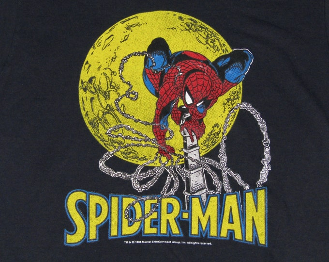 S/M * vtg 80s 1988 Spiderman marvel comic t shirt * todd mcfarlane screen stars * small medium 9.156