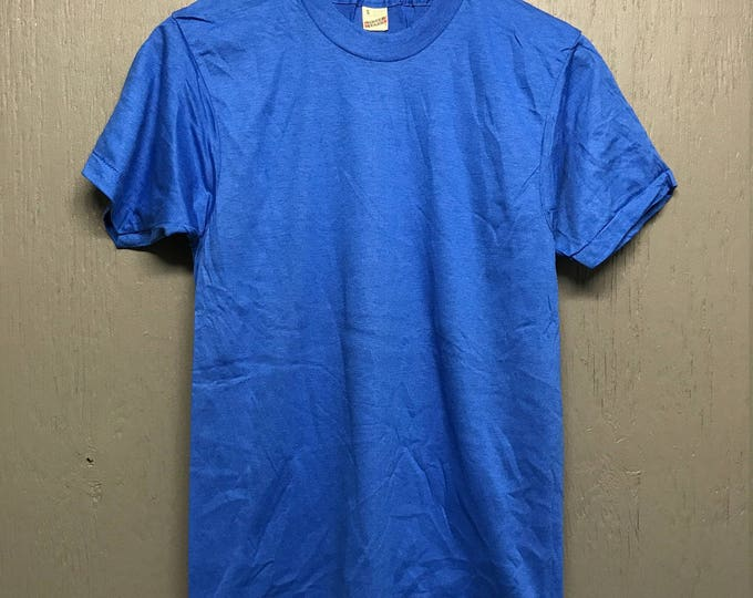 S NOS vintage 80s royal blue Blank screen stars t shirt