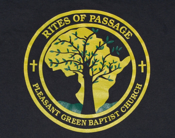 L * vtg 90s Africa rites of passage pleasant green baptist church t shirt * 79.115