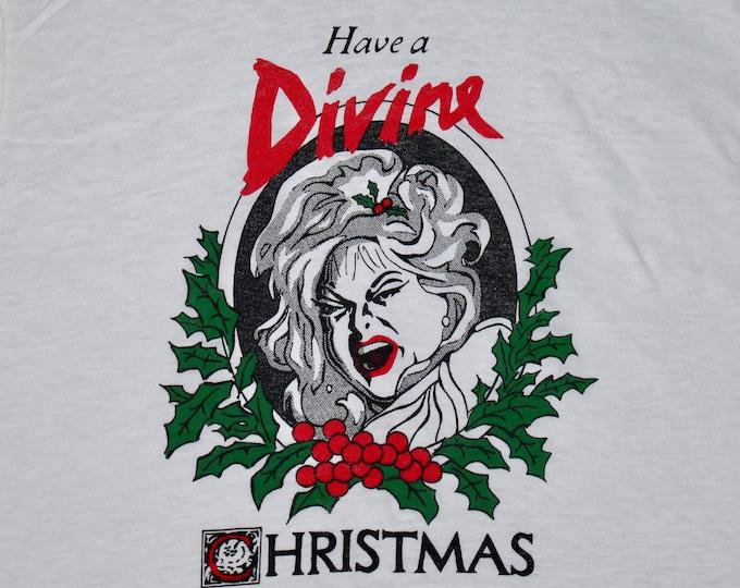 S * NOS vtg 80s 1981 Divine Christmas t shirt * john waters drag queen glenn milstead movie