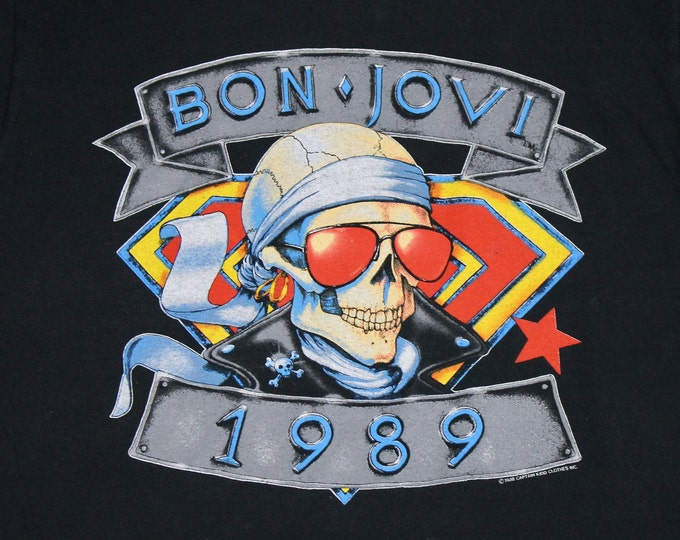 M/L * vtg 80s 1989 Bon Jovi concert tour t shirt * medium large * 15.164