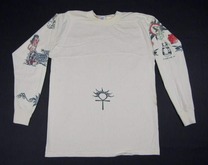 L * NOS vtg 90s Dennis Rodman long sleeve tattoo t shirt * 86.90