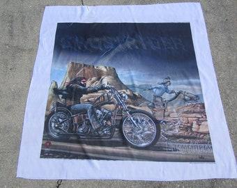 "44.5""x45"" NOS vtg 80s David Mann Easyriders Magazine banner * wall hanging biker art motorcycle harley davidson"