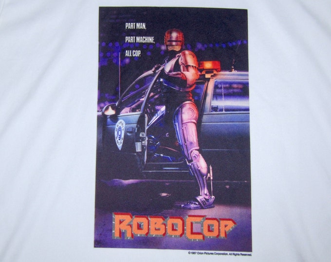 L * vtg 80s 1987 Robocop movie promo ringer t shirt * 86.91