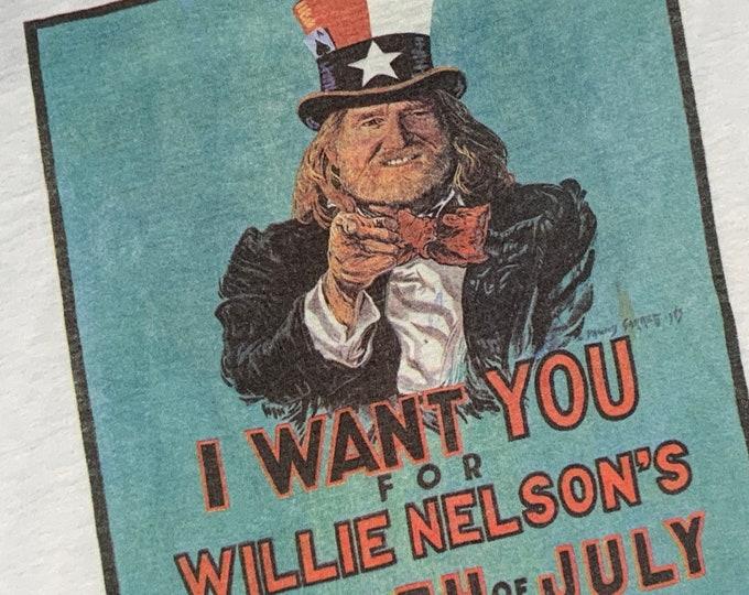 S * vtg 80s 1983 Willie Nelson picnic t shirt * concert tour * 27.189