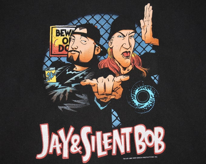 XL * vtg 90s 1998 Jay & Silent Bob t shirt * view askew clerks mallrats kevin smith movie comic * 103.4