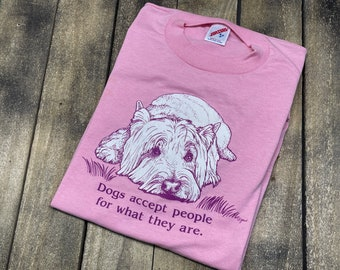 S/M * vintage 80s Dogs Accept People For What They Are t shirt * dog pet puppy small medium * 64.164