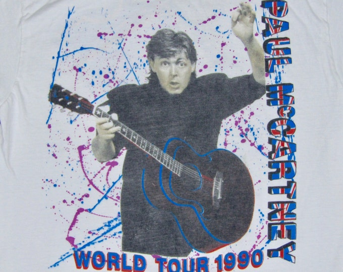 L * vtg 1990 Paul McCartney concert tour t shirt * 68.152