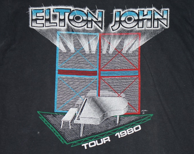 S/M * vtg 80s 1980 Elton John concert tour t shirt * small medium * 16.108