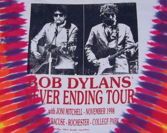 XL * vtg 90s 1998 Bob Dylan Joni Mitchell tie dye tour t shirt * 5.145