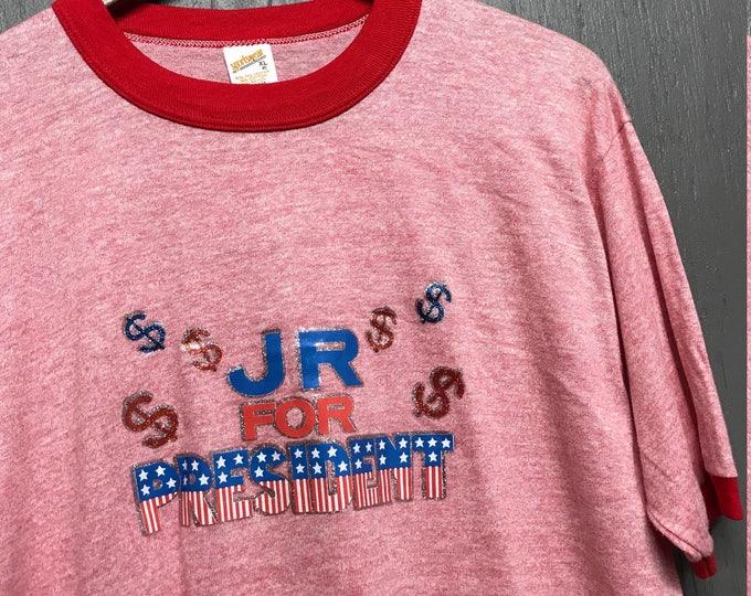 L nos vintage 80s rayon tri blend JR For President Dallas tv show t shirt