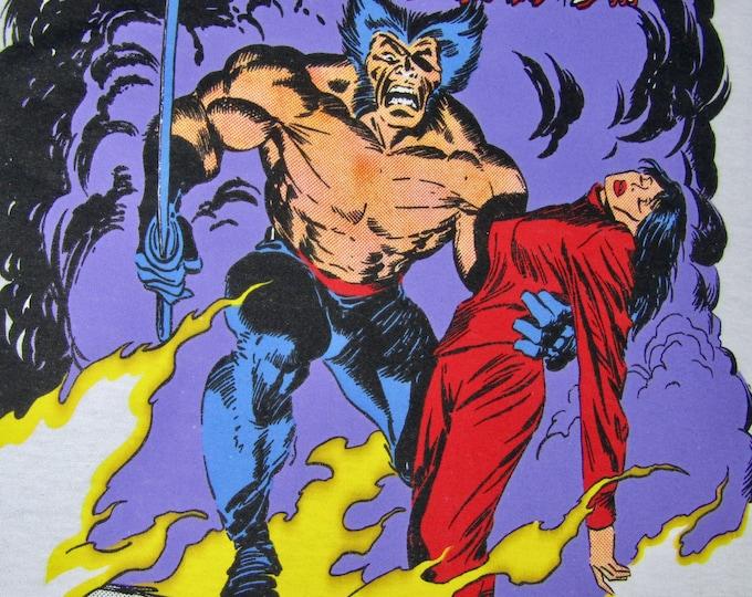 M * NOS thin vtg 80s 1989 Wolverine the black blade marvel comic t shirt * 39.182