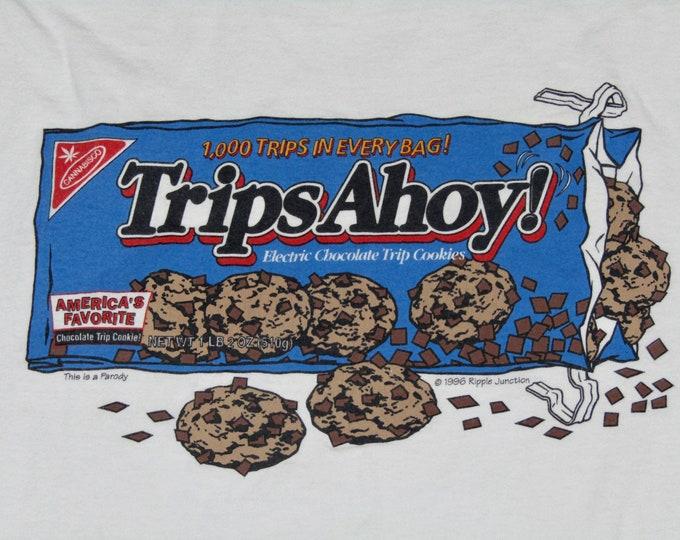 XL * vtg 90s Trips Ahoy t shirt * lsd shrooms marijuana drugs parody * 99.30