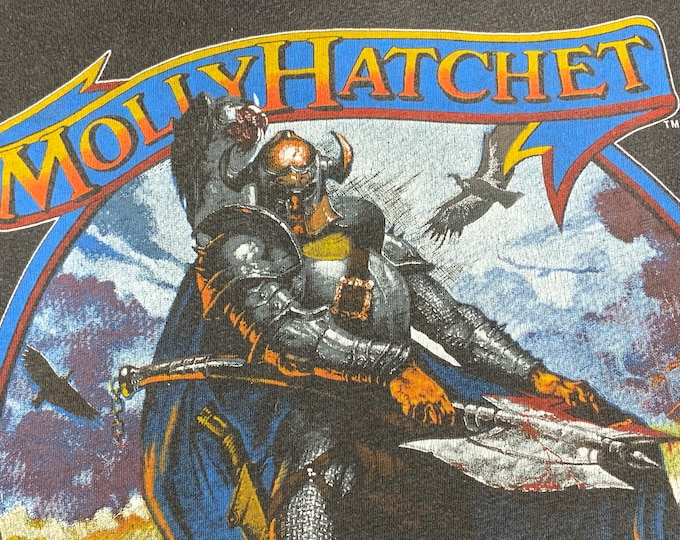 S/M * thin vtg 80s 1984 Molly Hatchet tour t shirt * concert the deed is done * small medium * 69.149