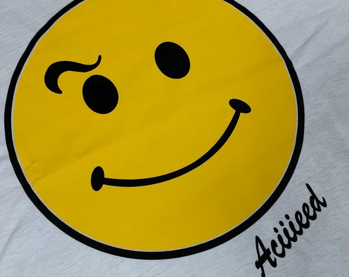 XXL * NOS vtg 80s/90s Acid House smiley face t shirt * happy Aciiieeed Aciiid rave raver dj * 46.167