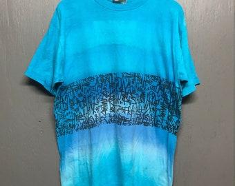 L/XL vtg 90s Ocean Blue surf skateboard t shirt