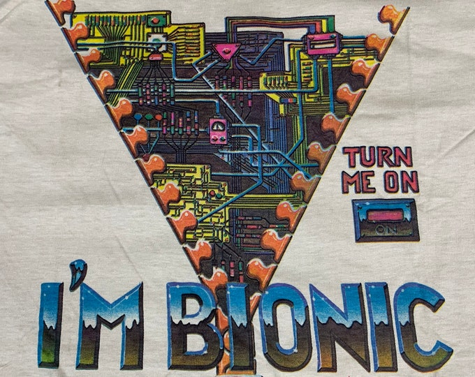 M/L * nos vtg 70s 1977 Alton Kelley BIONIC art t shirt * stanley mouse family dog * medium large * 15.168