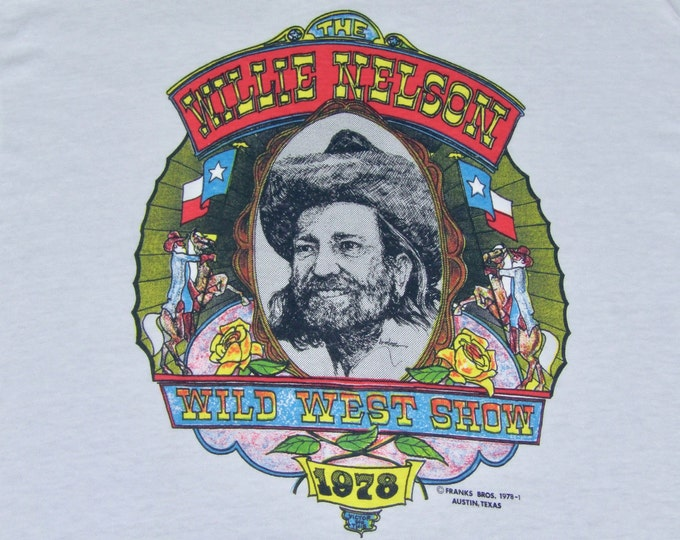 L * NOS vtg 70s 1978 Willie Nelson wild west show ringer t shirt * 45.181 outlaw classic country