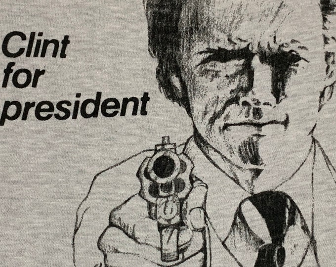 XL * vtg 80s Clint Eastwood for President t shirt * dirty harry movie * 92.39