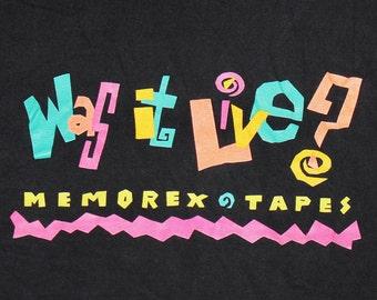 L * vtg 90s Memorex blank cassette tape t shirt * 104.2