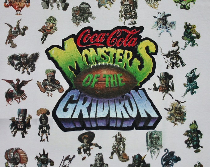 XL * vtg 90s 1994 Monsters of the Gridiron coca cola t shirt * nfl football * 97.1