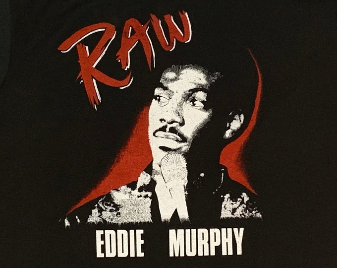 L * vtg 80s 1987 Eddie Murphy Raw t shirt * comedy concert tour movie vhs * 54.187