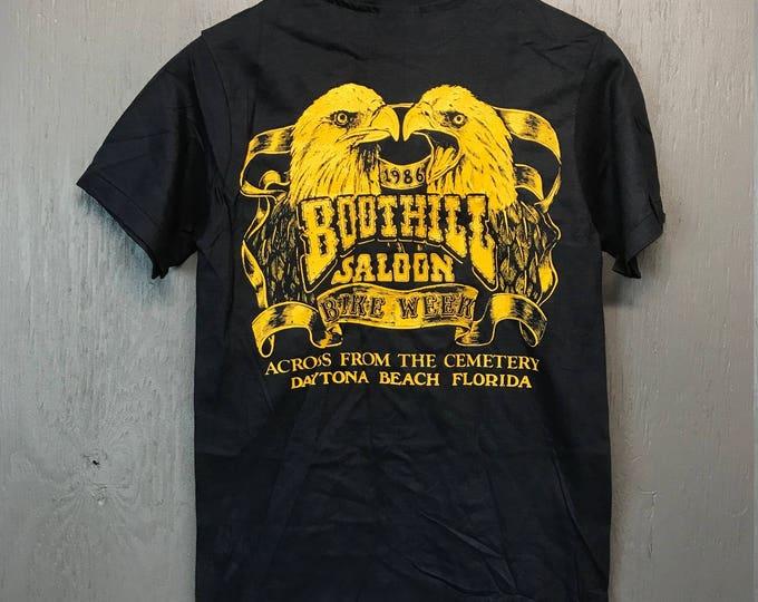 XS nos vintage 80s 1986 Boothill Saloon pocket biker t shirt * florida