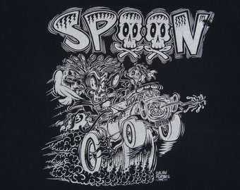 XL * vtg 90s 1991 SPOON alan forbes art t shirt * lowbrow los angeles underground punk * 14.164