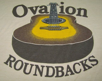 M * thin vtg 80s Ovation roundback acoustic guitar t shirt * 40.154