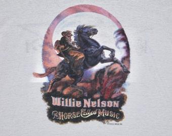 M * thin vtg Willie Nelson horse called music tour ringer t shirt * classic country  * 80.128