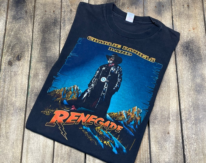 L * vintage 90s 1992 Charlie Daniels Band renegade tour t shirt * charley classic country music outlaw * 51.161