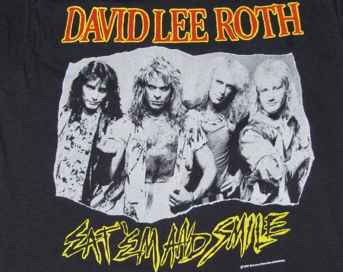 S * NOS vtg 80s 1986 David Lee Roth eat em and smile t shirt * tour van halen steve vai mr big * 13.164