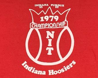 L * vtg 70s 1979 Indiana Hoosiers basketball t shirt * 67.127