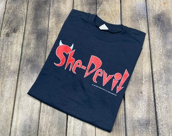 M/L * deadstock vintage 1990 She Devil movie t shirt * rosanne barr promo * 36.176