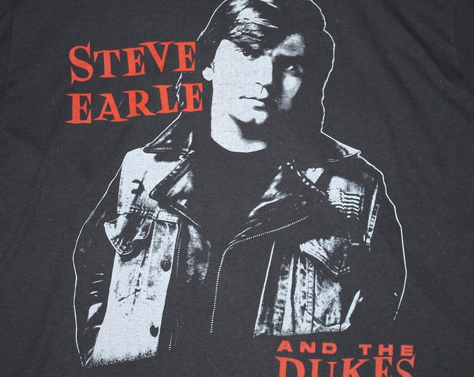 M * thin vtg 80s Steve Earle and the Dukes tour t shirt * 108.27