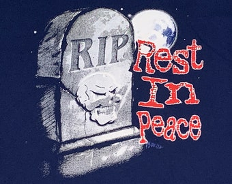 L * vtg 90s Rest In Peace t shirt * skull horror * 55.153