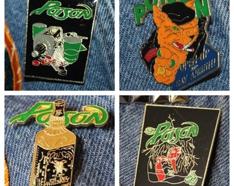 Lot of 4 * NOS vtg 80s POISON licensed enamel pin for shirt jacket hat Glam Metal