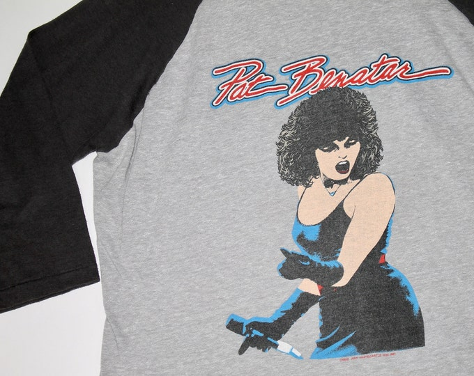 L * vtg 80s 1982 / 1983 Pat Benatar get nervous raglan tour t shirt * 24.179