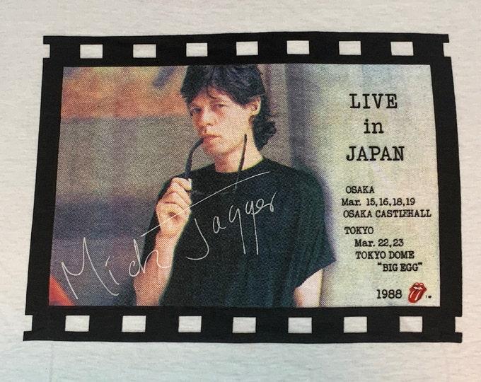 M * nos vtg 80s 1988 Mick Jagger japan tour t shirt * concert rolling stones