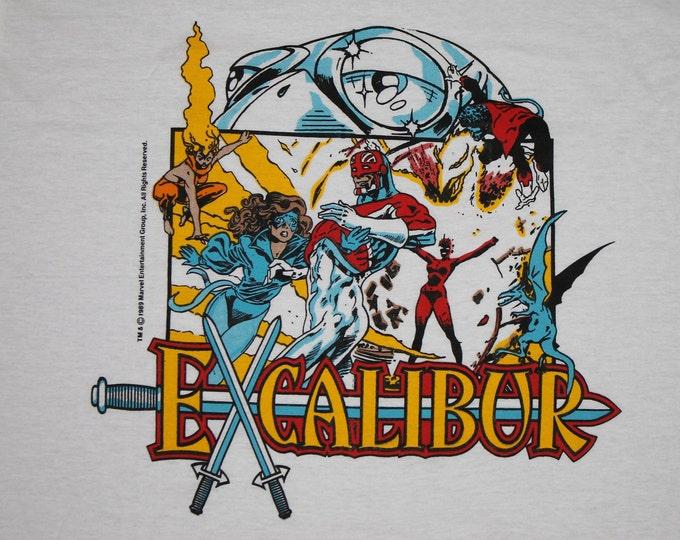 L * NOS vtg 80s 1989 Excalibur marvel comic t shirt * 96.33